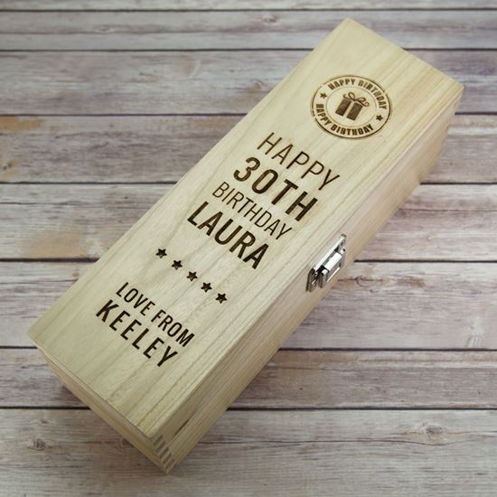 Picture of Happy Birthday Age Wooden Wine Box
