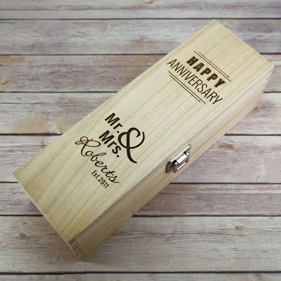 Picture of Anniversary Wooden Wine Box