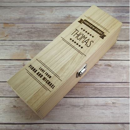 Picture of Congratulations Wooden Wine Box