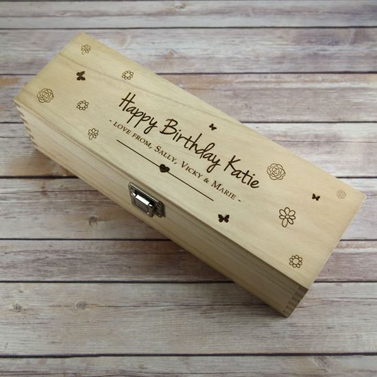 Picture of Birthday Flowers Wooden Wine Box