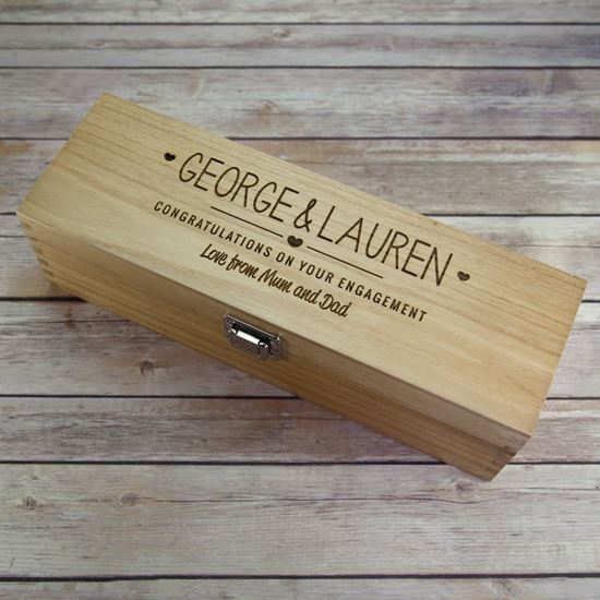 Picture of Engagement Wooden Wine Box