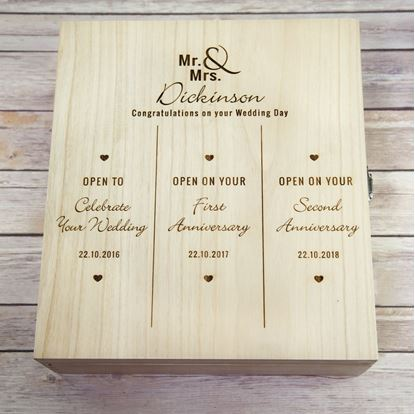 Picture of Wedding Day Triple Wooden Wine Box