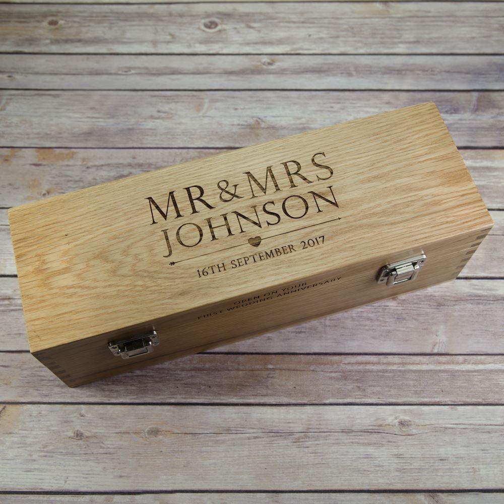 Personalised Wedding Gift Oak Bottle Box : Home Wine Boxes Solid Oak Wooden Wedding Day Wine Box