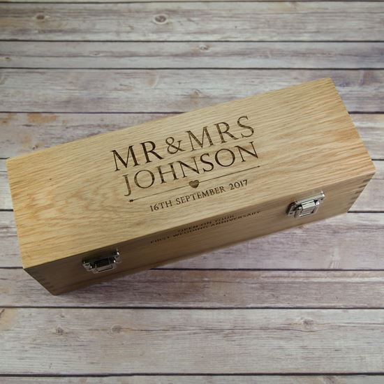 Picture of Solid Oak Wooden Wedding Day Wine Box