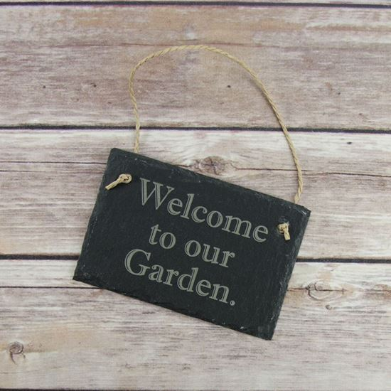 Picture of Welcome to Our Garden Slate Sign