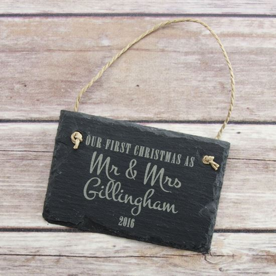 Picture of First Christmas as Mr & Mrs Slate Sign