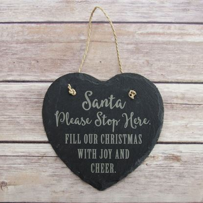 Picture of Santa Stop Heart Slate Sign