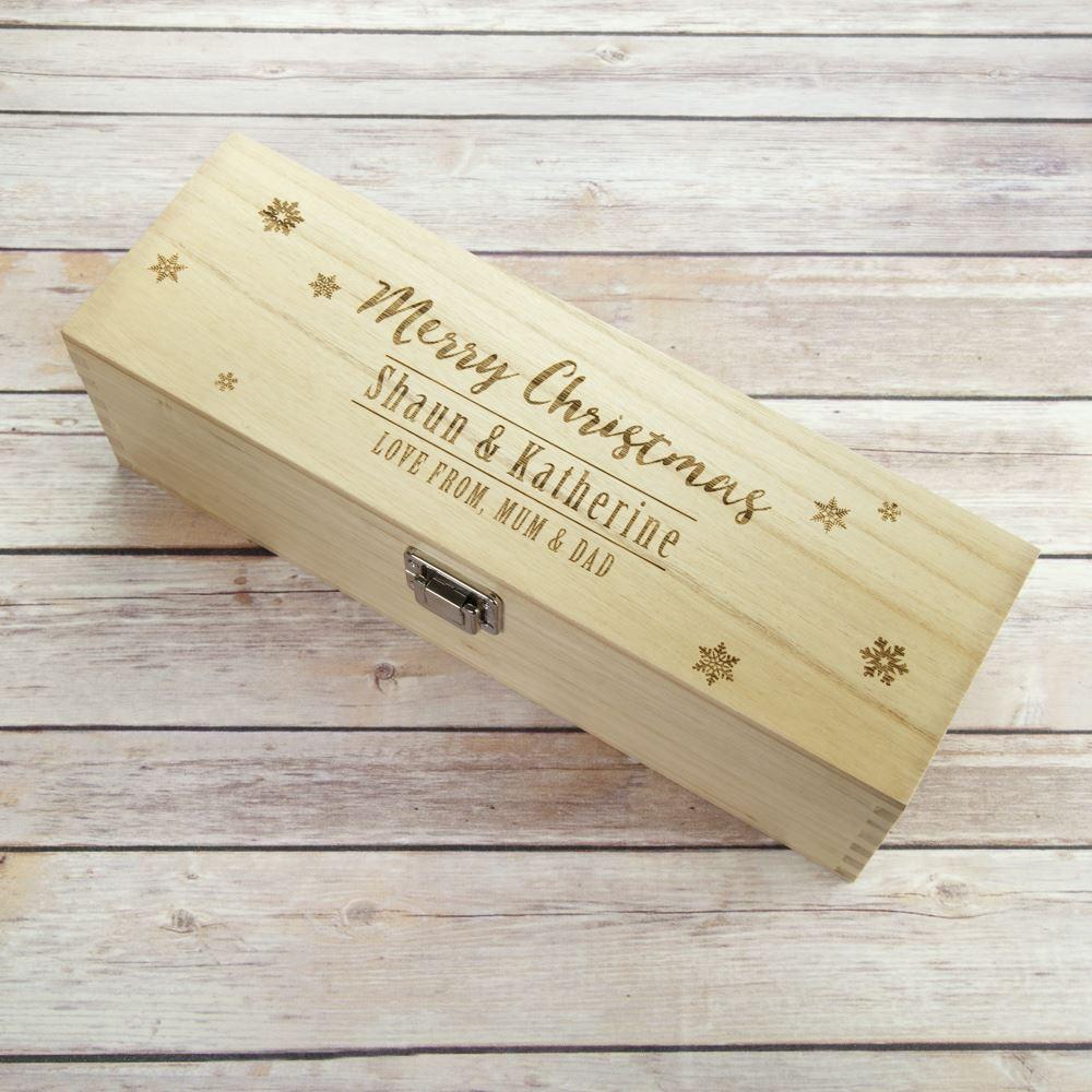 Merry christmas wooden wine box