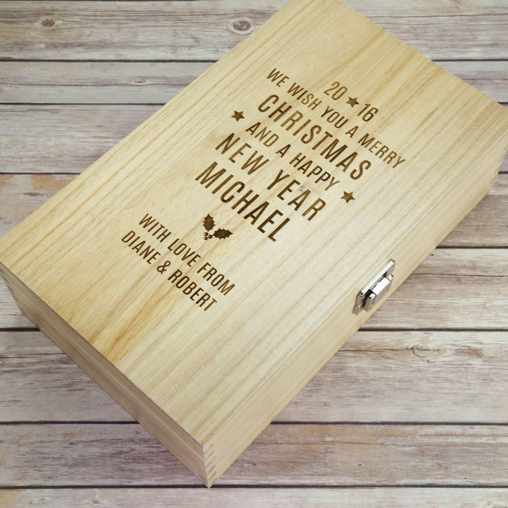 Double christmas wooden wine box