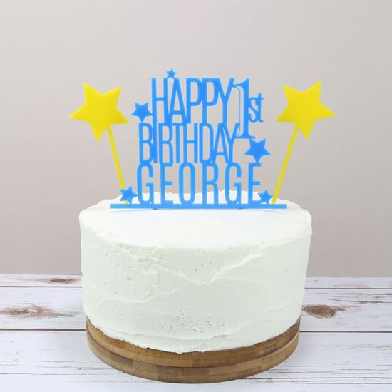 Picture of Birthday and Stars Cake Topper