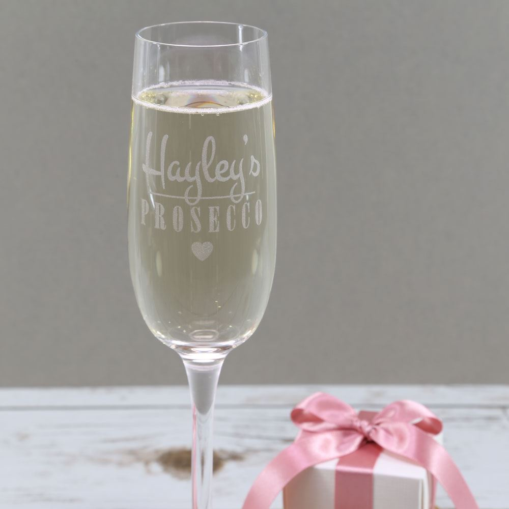 Personalised Heart Prosecco Glass Prezzely