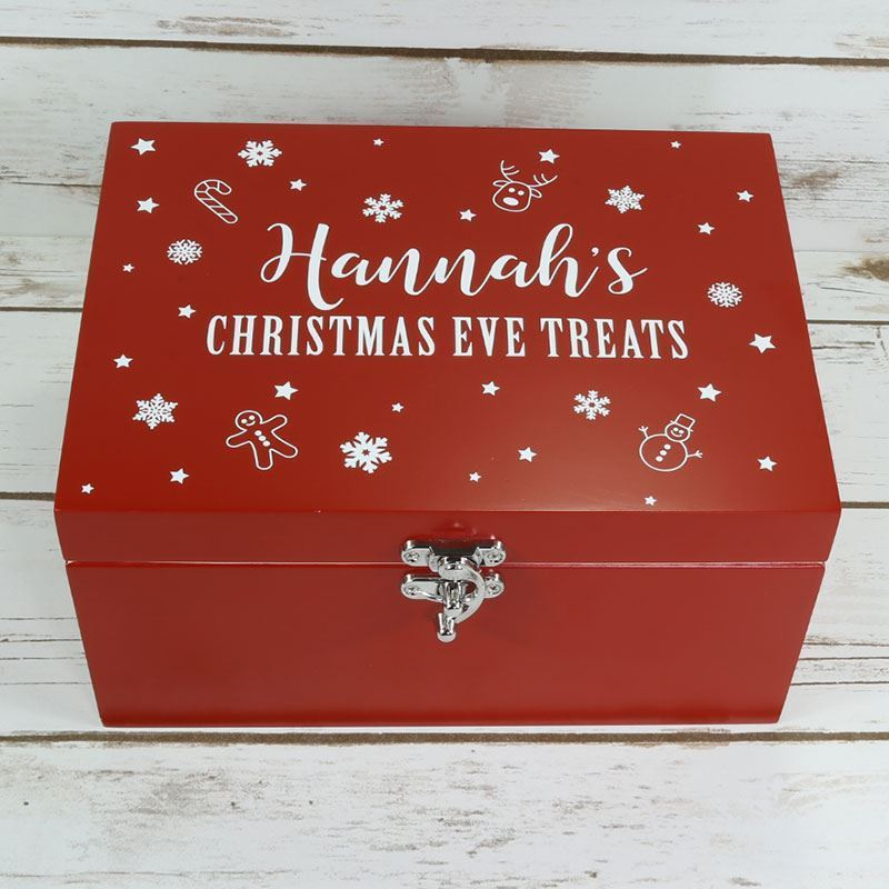 Small luxury red wooden christmas eve box prezzely